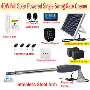 40W Full Solar Powered Single Swing Farm Gate Opener Automatic Motor Keypad