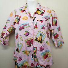 Nick Nora MEDIUM 2 Pc Pajamas PJs Shirt Capri Set Fruit Print STAINS