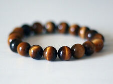 Tiger's Eye Quartz Crystal 8mm Natural Gemstone Elastic Stretch Bead Bracelet