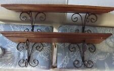 """Lot of 2 Vintage Style Wood and Metal Shelf Double Plate Groove 24"""" L Heavy Duty"""
