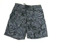 St Johns Bay Mens Floral Print Black Swim Trunks Shorts Medium - $40 - NEW