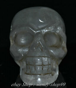 "4"" Antique Tibet Crystal Carving Human Skeleton Skull Head Sculpture"