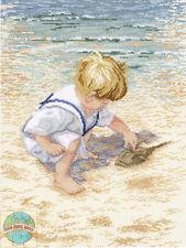 Cross Stitch Kit ~ Janlynn Boy On Beach Sand Oceanside Painting #029-0047