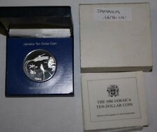 JAMAICA 10$ 1980 Hummingbirds Flower Silver Proof Franklin Mint Package BOX COA