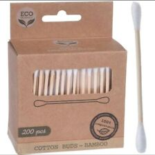 200 Bamboo Cotton Buds Biodegradable Vegan Eco Friendly Wooden Organic Ear Swabs