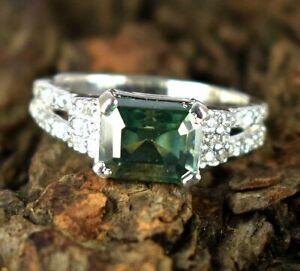 4.27 Ct Emerald Cut 925 Silver Green Diamond Solitaire Halo Women's Charm Ring