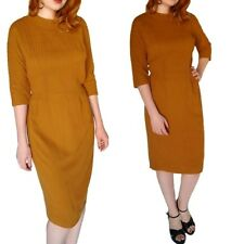 Vintage 1950's Curry Long Sleeve Dress Pinup Secretary Brown Fall S Rockabilly