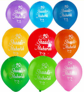 Shaadi Mubarak Balloons (25 PACK) Wedding Nikah Asian Walima Celebration Gifts