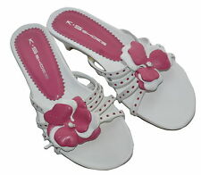 K+S  Leather Pink + White Mules Size 3 Shop Display Pair SP £105