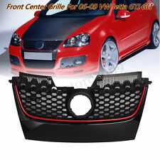 Red Strip Front Bumper Mesh Center Grille For 2003-2009 VW Jetta Golf GTI MK5
