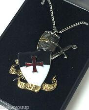 Masonic Knights Templar Non Nobis Domine Pendant & Chain Jerusalem Talisman