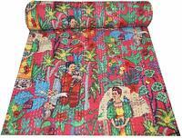 Frida Kahlo Handmade Kantha Bedspread Boho Bed Cover Quilts Red Reversible Quilt