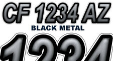 BLK METAL Custom Boat Registration Numbers Decals Vinyl Lettering Stickers USCG
