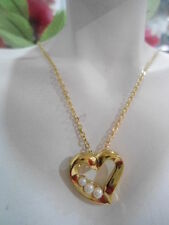 1990 Vintage US AVON Heart Pearl Pendant Necklace Jewelry