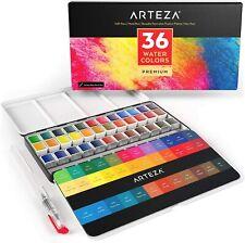Arteza Watercolor Paint Set of 36 Assorted Vibrant Colors in Half Pans El1019