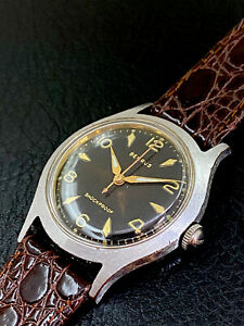 Vintage 1950's Mans Benrus, Hand Winding, Aged Dial, Runs And Keeps Good Timing