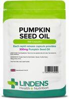 Pumpkin Seed Oil 300mg 100 Capsules Natural Men's Health Supplement Lindens UK