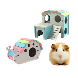 2x Hamster Gerbil Play House Wooden Hut Small Animal Activity Toy Playground