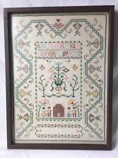 Vintage Cross Stitch Alphabet ABC Sampler Paragon Needlecraft Wormy Wood Frame