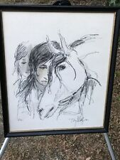 TONY MAFIA Original 1970s MODERN MINIMALIST ABSTRACT PEN & INK HORSE PORTRAIT