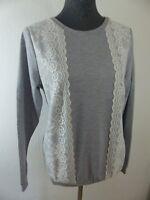 Neuer Dress Vin Pullover mit Spitzen Details Vorne Gr 38 Grau/Weiß NEU/OVP