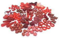 170g Czech Glass Bead Mix, Assorted Red Mix Lot, Heart, Flower, Star, Teardrop