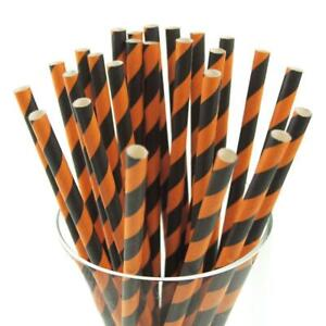 "Black And Orange Striped Paper Straws 8"" (20cm) Biodegradable Compostable 6mm"