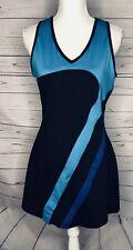 Fila Tennis Dress Medium Blue Black Striped Shelf Bra Stretch Short A30