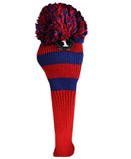 New Ray Cook Pom Pom Knit Driver Golf Club Head Cover Red and Navy Blue Vintage