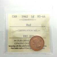 ICCS Graded Mint State 64 Canada Red 1962 One 1 Cent Copper Penny Coin Q260