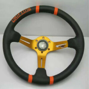 Universal MO Steering Wheel 350mm Leather Deep Dish Golden For MO SPAR UKNEST