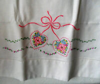 Vintage Embroidered & Openwork White PILLOWCASE Hot Pink Hearts, Flowers, Bow