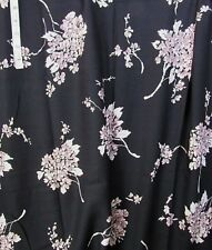 """Pink Floral Print on Black Cotton,Polyester Blend Apparel Fabric 54"""" x 58"""""""