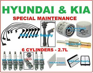 FOR 05-10 HYUNDAI TUCSON SPORTAGE V6 TUNE UP KITS: SPARK PLUGS WIRE SET & FILTER