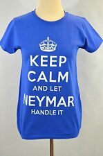 New! Keep Calm And Let Neymar Handle It Royal Blue Soccer T-SHIRT women's Small