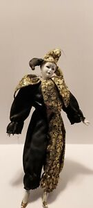 "Vintage 17"" Porcelain Harlequin Jester Doll, Gold and Black  with Stand"