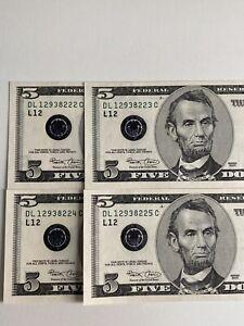 Error 4 Consecutive 《Heavy Ink Over Black Seal & Back》 2003  $5,UNC Super Rare!