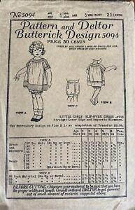 Original Antique c1919 Butterick Pattern 5094 Little Girls Dress & Bloomers Sz 5