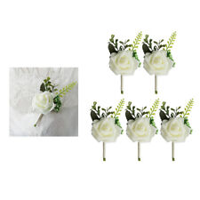 5x Wedding Corsage, White Rose Flowers Brooch Pin for Celebration Party Prom