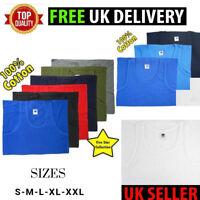6 8 PACK  MENS plain cotton vest top t-shirt blue black white navy s m l xl xxl