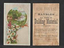 1880s KERR BROS & CO BUILDING MATERIALS HICKSVILLE OHIO VICTORIAN TRADE CARD