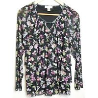 Christopher Banks womens blouse large black floral keyhole long sleeve tiered