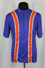 Vtg Sugoi Cycling Bike Bicycle Jersey Blue w/ Orange Stripe Size L
