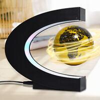 """3"""" Floating Globe Magnetic Levitation LED Light World Map C Shaped Desk Decor US"""