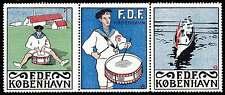 Denmark Poster Stamps - FDF - Frivilligt Drenge Forbund - 1913 - Strip of 3