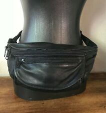Vintage Black Leather Fanny Pack Strap Pouch LL Bean ! 90's