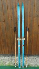 "Vintage Wooden Skis 75"" Long with Original BLUE and BLACK Finish and Bindings"