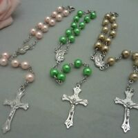 Religious Simulated Pearl Beads Red Rose Catholic Rosary Jewellery Bracelet