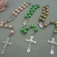 Religious White Simulated Pearl Beads Red Rose Catholic Rosary Bracelet JiuGu