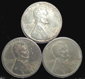 1943 P,D & S War Time Steel Lincoln Head Pennies
